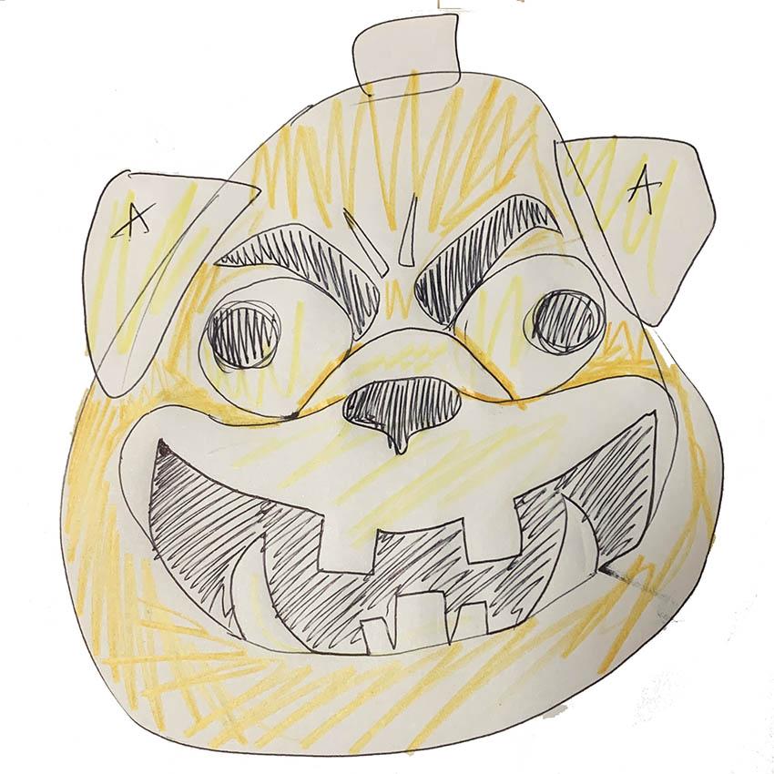 zucca di halloween a forma di cane carlino